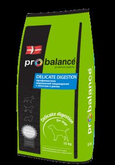 ProBalance 15кг Delicate Digestion Корм сухой для взрослых собак всех пород лосось и рис