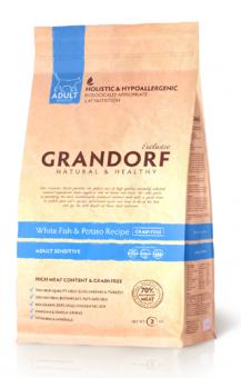 Grandorf 2 кг White Fish & Potato Adult Sensitive Белая рыба с картофелем для взрослых кошек Сенситив