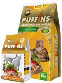 Puffins 400г Вкусная курочка сухой корм для кошек