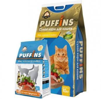 Puffins 400г Курочка и рыбка сухой корм для кошек