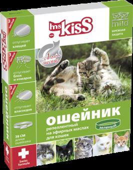 Mr kiss Ошейник от блох, клещей, комаров (защита-3мес.) для котят с 4недель и кошек, 38см, красный