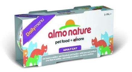 2шт,Almo Nature 2*170гр набор консервов для кошек Меню с тунцом и сардинами Daily Menu - Cat Tuna&Sardines