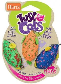Hartz Три мышки разноцветные, мягкая Наименование (англ):Mini Mice Trio Cat Toy Игрушка для кошек