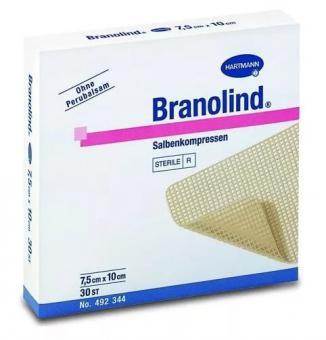BRANOLIND N повязки с перуанским бальзамом(стерильные)7,5 х 10 см, 30 шт.