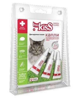 Mr Kiss 2,5мл Капли от блох и клещей для крупных кошек репеллентные, 3пипетки