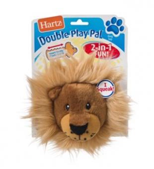 Hartz Double Play Pal Dog Toy Игрушка для собак - Хрустящая голова забавного животного, мягкая