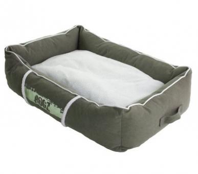 Rogz 88x55x26см Лежак с бортиком и двусторонней подушкой большой серия LOUNGE, серый/кремовый