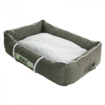 Rogz 72x45x25см Лежак с бортиком и двусторонней подушкой средний серия LOUNGE, оливковый/кремовый