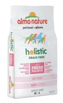Almo nature 12кг Holistic Grain Free Dogs M-L Беззерновой корм с  Лососем и Картофелем для Собак карликовых и мелких пород
