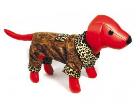 Dezzie Комбинезон 25см, коричневый с флисовой подкладкой для собак, иск.кожа