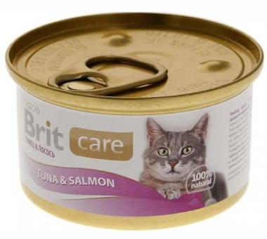 6шт*80 гр Brit Super Care Tuna&Salmon консервы для кошек тунец и лосось