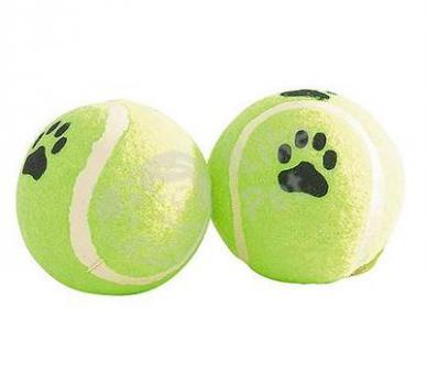"""Beeztees  Игрушка для собак 6,5см """"Мячик теннисный с отпечатками лап"""" желтый"""