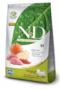 Farmina 0,8 кг N&D Dog Boar & Apple Adult Mini Беззерновой корм для взрослых собак мелких  пород Кабан с Яблоком