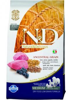 Farmina 2,5 кг N&D Low Grain Lamb & Blueberry Adult Корм для взрослых собак с низким содержанием зерна ягненок с черникой