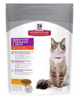 Hill's 1,5кг Adult Sensitive Stomach & Skin Сухой корм для кошек с чувствительным желудком, яйцо+рис