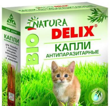 Natura Delix Bio Капли антипаразитарные для котят 2пипетки