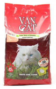 VAN CAT 10кг 100% Натуральный комкующийся наполнитель, без пыли, пакет