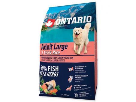 Ontario 12кг Adult Large 7 Fish & Rice Сухой корм для собак крупных пород с 7 видами рыбы и рисом