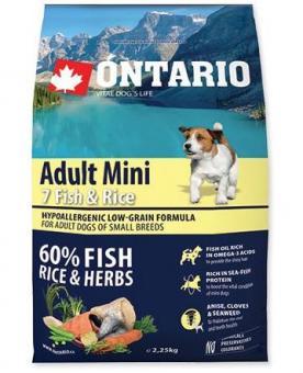 Ontario 2,25кг Adult Mini 7 Fish & Rice Сухой корм для собак малых пород с 7 видами рыбы и рисом