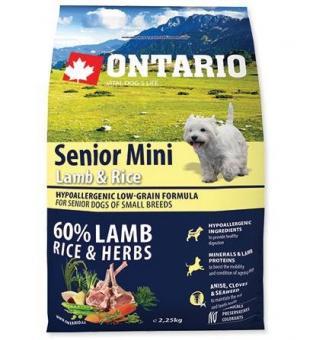 Ontario 6,5кг Senior Mini Lamb & Rice Сухой корм для пожилых собак малых пород с 7 видами рыбы и рисом