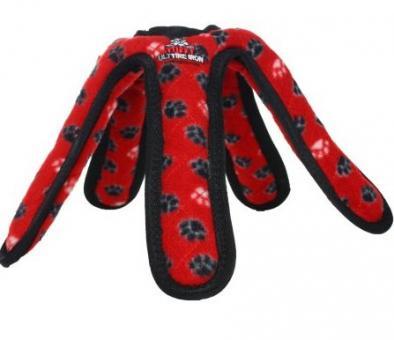 Tuffy Ultimate TireIron Red Paw Супер прочная игрушка для собак Кольцо с 5 лепестками, красный, прочность 9/10