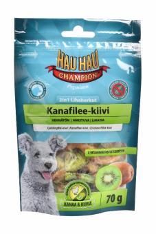 HAU-HAU 2in1 Chicken fillet-kiwi 70гр Лакомство для собак  2в1 куриное филе с киви