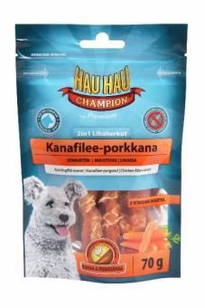 HAU-HAU 2in1 Chicken-carrot 70гр Лакомство для собак  2в1  куриное филе с морковью
