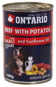 Ontario 0,4кг Консервы для собак говядина и картофель