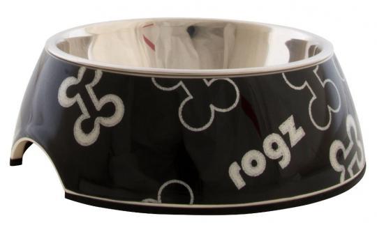 Rogz Миска 2в1 350мл BUBBLE BOWLZ Черные косточки