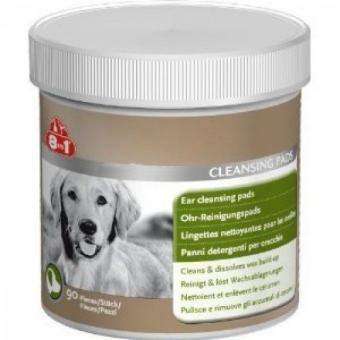8 in 1 EAR CLEANSING PADS 90 шт. Очищающие салфетки для ушей домашних животных