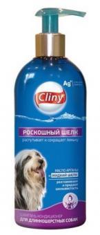 Cliny 300мл Роскошный шелк шампунь-кондиционер для длиннош.собак