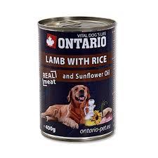 Ontario 0,4кг Консервы для собак ягненок и рис