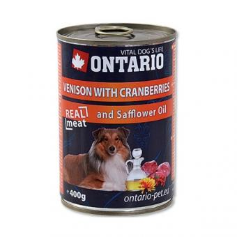 Ontario 0,4кг Консервы для собак оленина и клюква