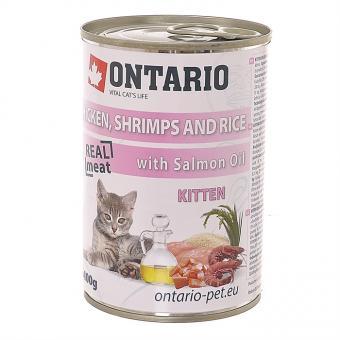 Ontario 0,4кг Консервы для котят курица, креветки и рис