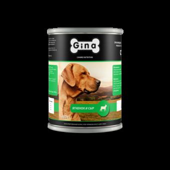 12шт.Gina 400 г Adult lamb and cheese Консервы для собак ягнёнок и сыр