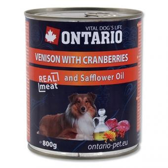 Ontario 0,8кг Консервы для собак оленина и клюква