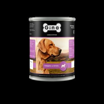 12шт.Gina 400 г Adult beef and liver Консервы для собак говядина и печень