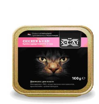 акция (1+1)16шт. X-Cat 100 гр CHICKEN HAM Кусочки курицы и ветчины в желе При покупке 1коробки любого вида, вторую Вы получаете в подарок