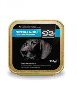 (1+1)16 шт.X-Dog 100гр CHICKEN&SALMON Кусочки курицы и  лосося в желе,При покупке 1коробки любого вида, вторую Вы получаете в подарок