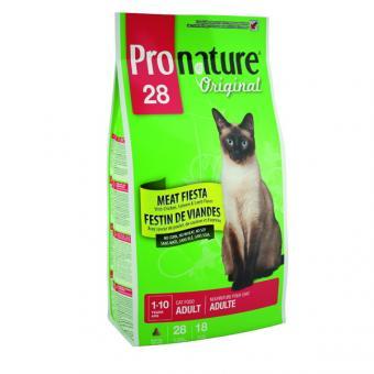 Pronature 5,44 кг Original 28 adult meat fiesta Сухой корм для взрослых кошек  мясной праздник с курицей, лососем и ягненком беззерновой