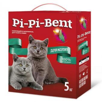 Pi-Pi-Bent для котят 5 кг (паке) комкующийся наполнитель для кошачьего туалета (мелкая фракция)