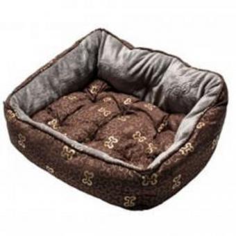 Rogz Мягкий лежак 56х43х29см с двусторонней подушкой TRENDY PODZ размер M Коричневые косточки