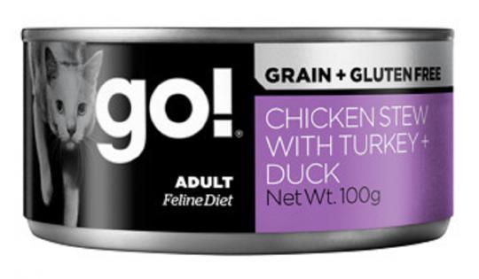 1шт Go Natural Holistic 100гр  Chicken,Turkey, Duck консервы беззерновые курицей, индейкой и мясом утки для кошек, паштет