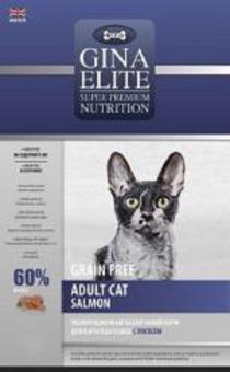 Скидка 50% на 2-ой мешок Gina 15кг Elite Grain Free Cat Salmon  Беззерновой полнорационный беззерновой корм для взрослых кошек с лососем