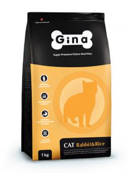 Gina Cat 1кг Rabbit&Rice  для взрослых кошек с нормальным уровнем активности.
