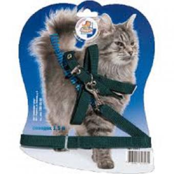 ЗООНИК Шлейка с поводком 1,5м для кошек