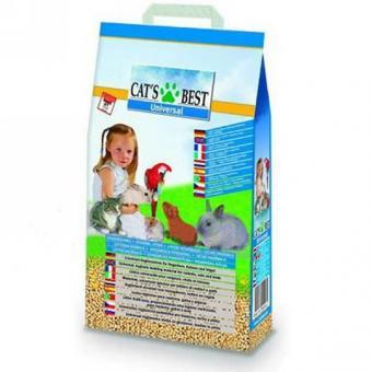 Cat's Best Universal 10л/5.5кг древесный комкующийся наполнитель для кошачьих туалетов, грызунов и птиц
