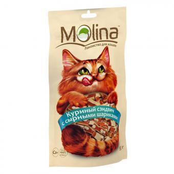 Molina 80гр. Лакомство для кошек куриный сэндвич