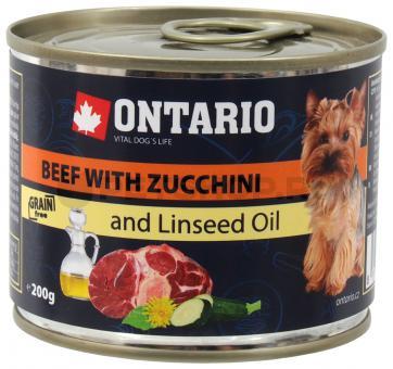 6 шт. Ontario 0,2кг консервы для собак малых пород говядина и цуккини