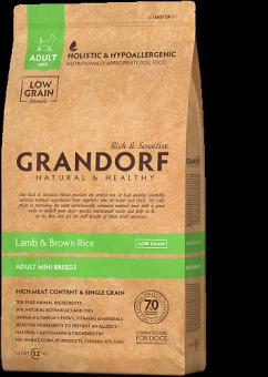 Grandorf 1 кг Lamb & Brown Rice Adult Mini низкозерновой сухой корм для взрослых собак мини пород ягненок и бурый рис